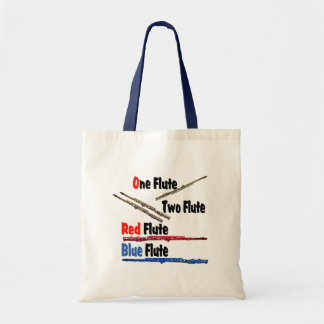赤いフルートの青のフルート トートバッグ