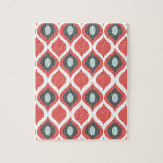 赤いブルーグレーの幾何学的なイカットの種族のプリントパターン ジグソーパズル