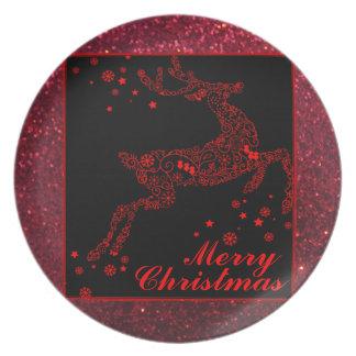 赤いプレートのメリークリスマスのトナカイ プレート