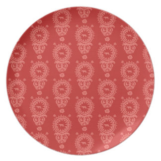 赤いプレートの狩りWEIMARANERの赤い花柄 プレート