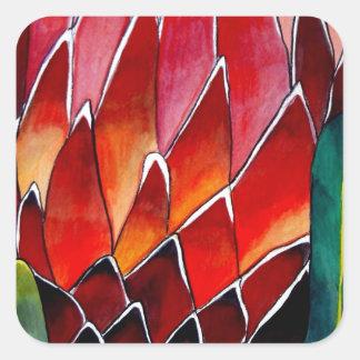 赤いプロテアの花の元の水彩画の芸術 スクエアシール