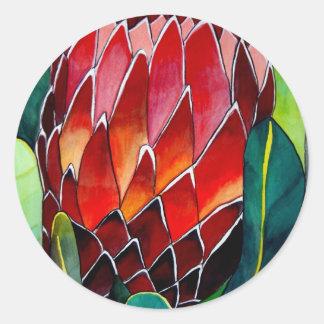 赤いプロテアの花の元の水彩画の芸術 ラウンドシール