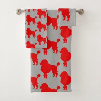 赤いプードル犬のシルエット バスタオルセット