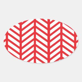 赤いヘリンボン 楕円形シール