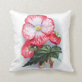 赤いベゴニアのヴィンテージの花柄の枕 クッション