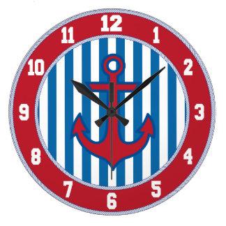赤いボーダー航海のないかりの時計 ラージ壁時計