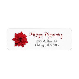 赤いポインセチアが付いているクリスマスの宛名ラベル ラベル