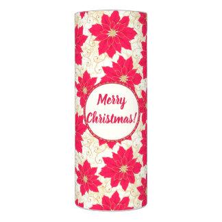 赤いポインセチアとのメリークリスマスの挨拶、 LEDキャンドル