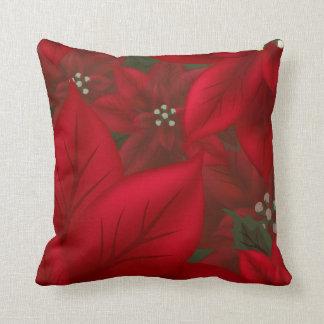 赤いポインセチアのクリスマスの枕 クッション