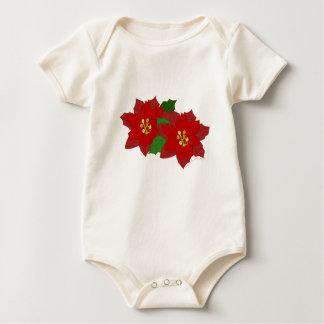 赤いポインセチアの花のクリスマスの花 ベビーボディスーツ