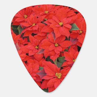 赤いポインセチアIのクリスマスの休日の花柄の写真 ギターピック