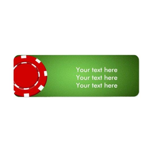 赤いポーカー用のチップのカジノの住所リターンラベル ラベル