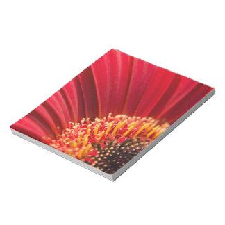 赤いマクロガーベラのデイジーの花 ノートパッド