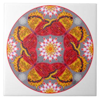 赤いマントの蝶曼荼羅のタイル タイル