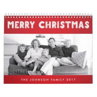 赤いメリークリスマス2017年の名前入りなカレンダー カレンダー