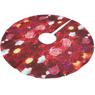 赤いモザイク光沢があるグリッターパターンv3 ブラッシュドポリエステルツリースカート