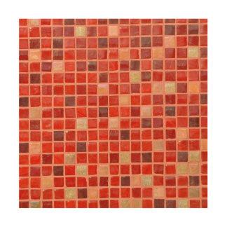 赤いモザイク・タイルの背景 ウッドウォールアート