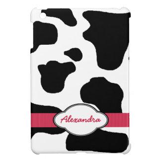 赤いモノグラムのの乳牛パターン iPad MINI CASE