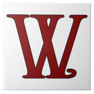 赤いモノグラムのタイルのヘレナの手紙W タイル