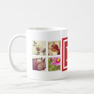 赤いモノグラムのInstagramの写真のコラージュのマグ コーヒーマグカップ