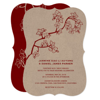 赤いモモは中国のな結婚式の招待桜の活気付きます カード
