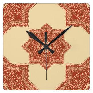 赤いモロッコパターン スクエア壁時計