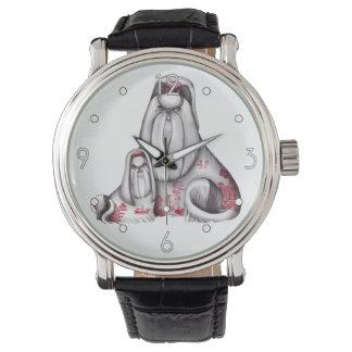 赤いヤナギのシーズー(犬) Tzus 腕時計