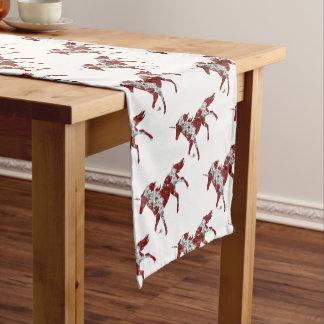 赤いユニコーンの花 ショートテーブルランナー