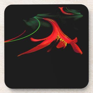 赤いユリのフラクタルデザインのしぶき コースター