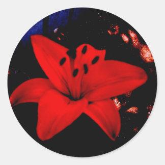 赤いユリ ラウンドシール
