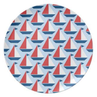 赤いヨットのプレート プレート