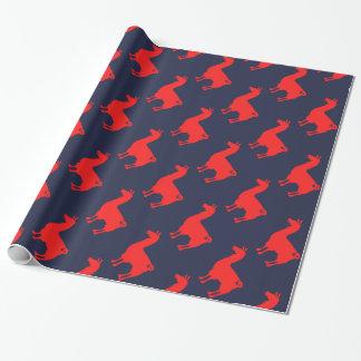 赤いラマの包装紙 ラッピングペーパー