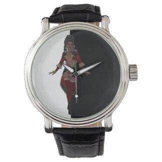 赤いランジェリーのアフリカ系アメリカ人の女性 腕時計