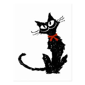 赤いリボンおよび黒猫 ポストカード