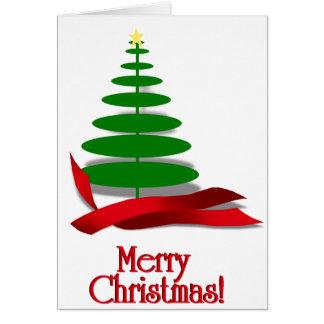 赤いリボンが付いているクリスマスツリー カード