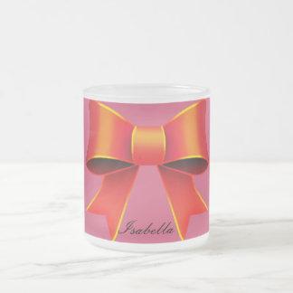 赤いリボンのエレガントでロマンチックなイザベラのマグ フロストグラスマグカップ