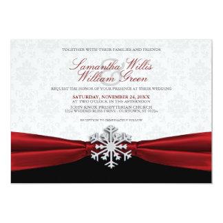 赤いリボンの冬の結婚式招待状 12.7 X 17.8 インビテーションカード