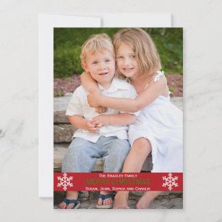赤いリボンの雪片のクリスマスカード クリスマスカード