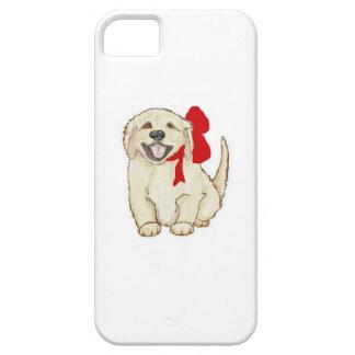 赤いリボンを持つゴールデン・リトリーバーの子犬 iPhone SE/5/5s ケース