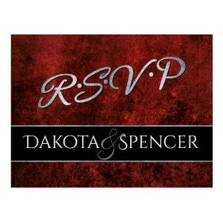 赤いルビー色の結婚式| RSVPの深紅色のガーネットおよび黒| ポストカード