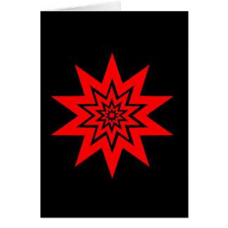 赤いレーザーのスターバストの挨拶状 カード