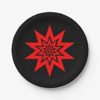 赤いレーザーのスターバストの紙皿 ペーパープレート