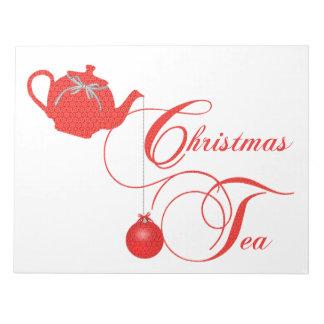 赤いレースのクリスマスのお茶会 ノートパッド