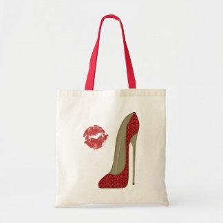 赤いレースの小剣の靴およびキスの芸術 トートバッグ
