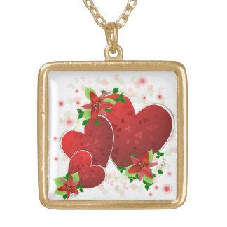 赤いロマンスのハートのネックレス ゴールドプレートネックレス