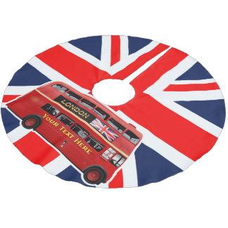 赤いロンドンの二重デッカーバス ブラッシュドポリエステルツリースカート