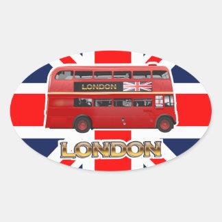 赤いロンドンの二重デッカーバス 楕円形シール
