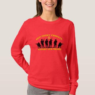 赤いワイシャツの金曜日の軍隊を支援の長袖 Tシャツ
