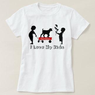 赤いワゴンかわいいヤギのシルエットのトートMaGoats Tシャツ