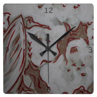 赤いワシの時計 スクエア壁時計